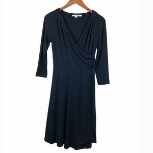 Boden Black Roseberry Faux Wrap Jersey Dress 8
